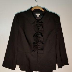 Loft Black Suit Jacket w/ruffled closure.